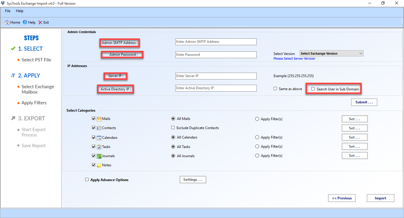 Exchange Import Wizard to Import Outlook PST to Exchange Server